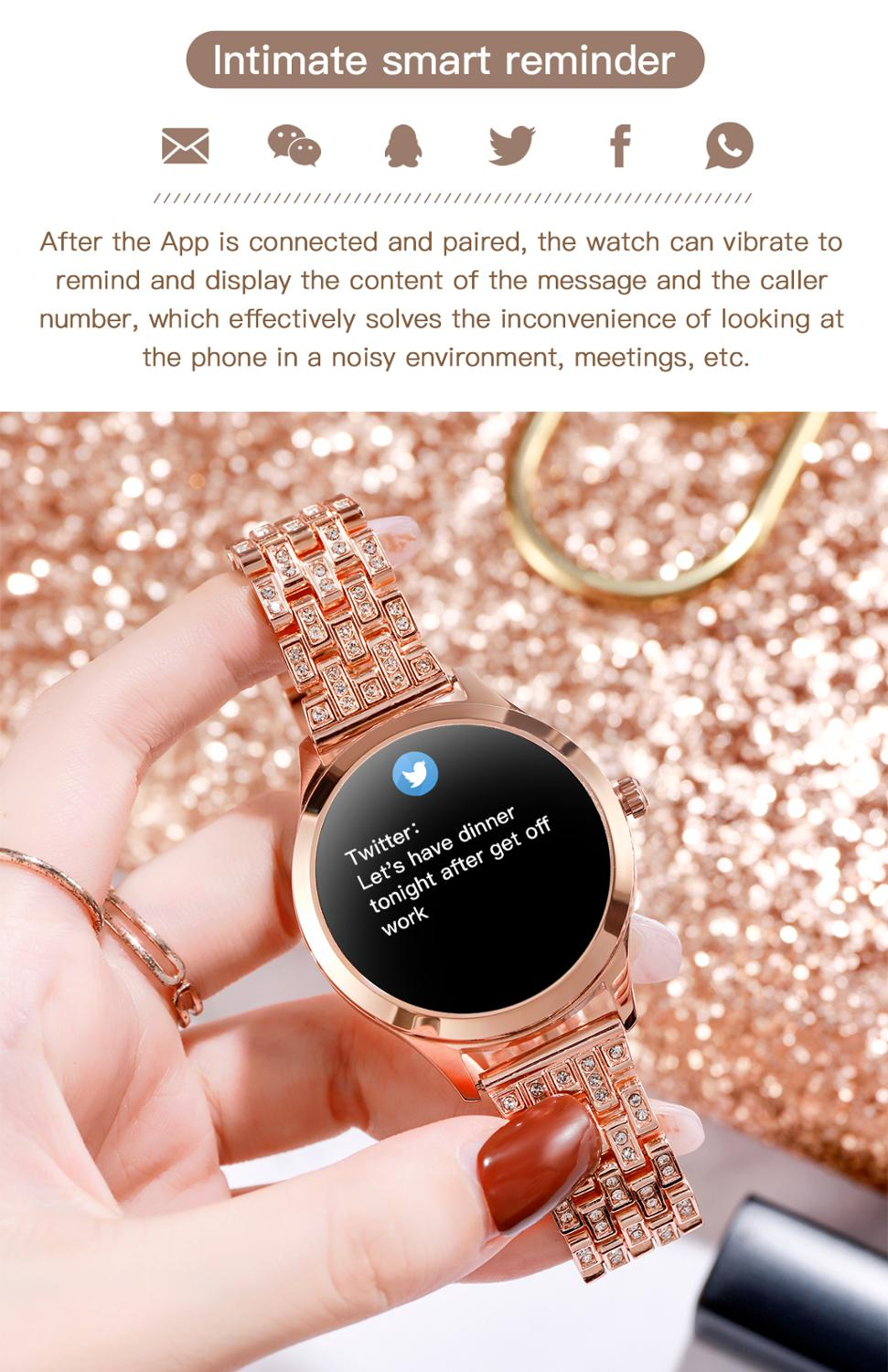 lowest price LEMFO 1 09 Inch Smart Watch Women Music Control Editable Watch Face Message Incoming Reminder Replaceable Stainless Steel Strap