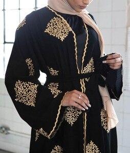 Image 5 - ドバイアラブオープンアバヤイスラム教徒ヒジャーブドレス女性着物レースアップローブドバイカフタン abayas イスラム服カフタン musulman marocain ロングローブ