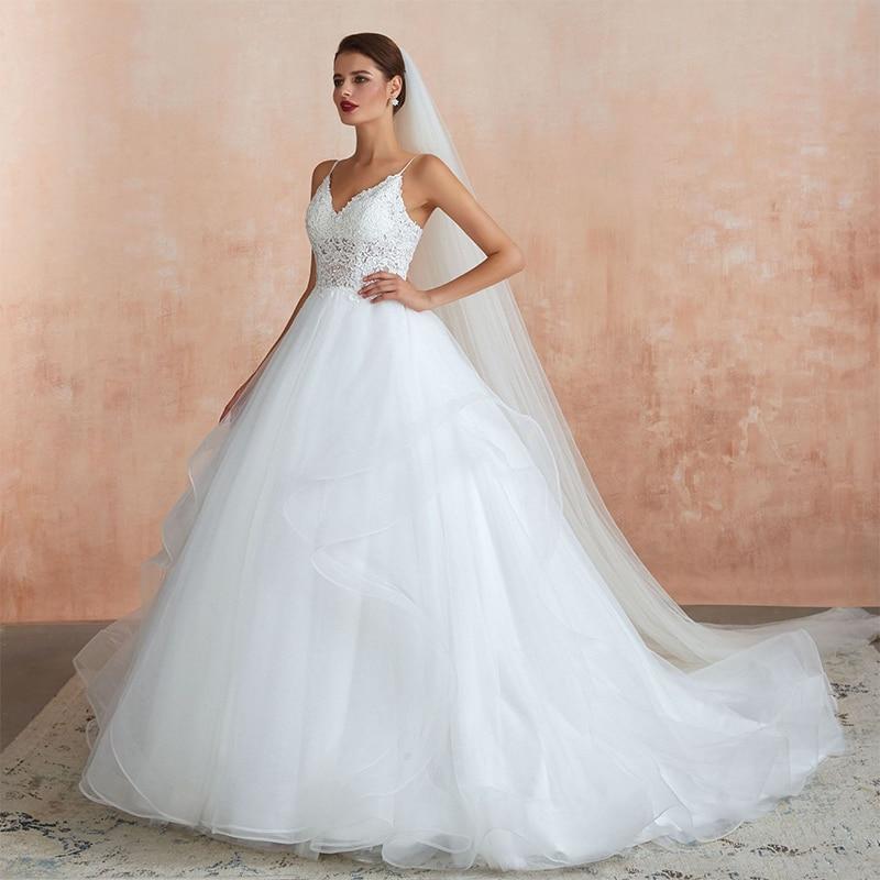 New Romantic  Wedding Dresses Ball Gown Lace Up Sleeveless White Chapel Train Tulle Bridal  2021 Women Vestido De Noiva WG1008