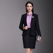 High Quality Autumn and Winter Small Suit Womens Office Black Pants Two Suits of Skirt