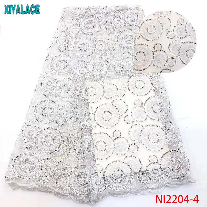 High Quality African Sequins Lace Fabric,French Net Laces With Sequins,Nigerian Embroidery Tulle Lace For Dresses KSNI2204-4