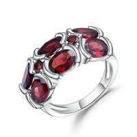 Gem's Ballet 6.13Ct Natural Garnet Gemstone Mona Lisa Wedding Ring 925 Sterling Silver Ring for Women Fine Bijouterie
