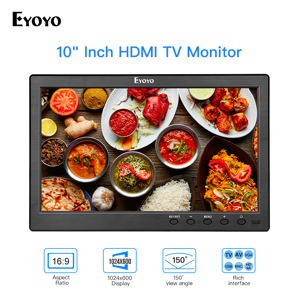 Eyoyo 10 Inch Small TV IPS Monitor HDMI 1024x600 LCD Screen With HDMI VGA AV USB Remote Control For DVD PC CCTV Security Display
