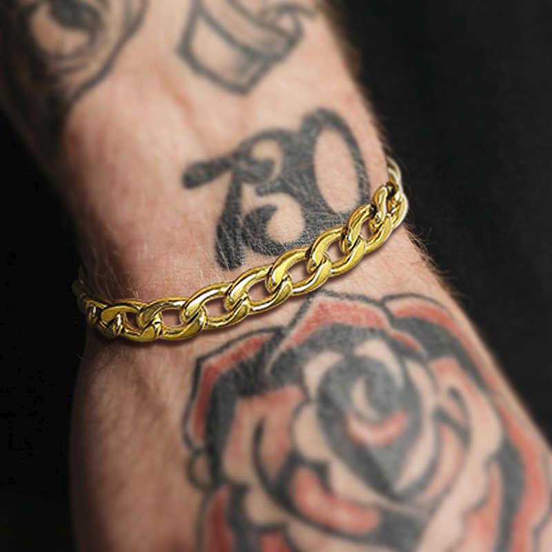 מיאמי קובני קישור שרשרת גברים צמיד זהב 8MM נירוסטה היפ הופ זכר תכשיטי 6.8 אינץ-8.6 אינץ