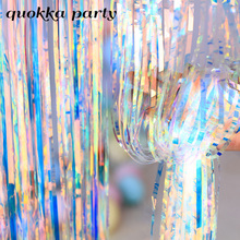 2M Allochromy Wedding Backdrop Transparent Foil Fringe Curtain Birthday Party Girl Adult Unicorn Decor