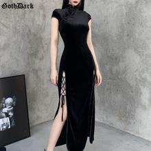 Bodycon Dress Cheongsam Aesthetic-Dresses Bandage Evening-Wear Dark-Romantic Gothic Velvet