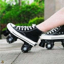 JK Skates Quad Rollschuhe Unisex Leinwand Doppel Linie Skates Erwachsenen Kind Zwei linie Skating Schuhe Mit LED PU 4 räder Rollerblade