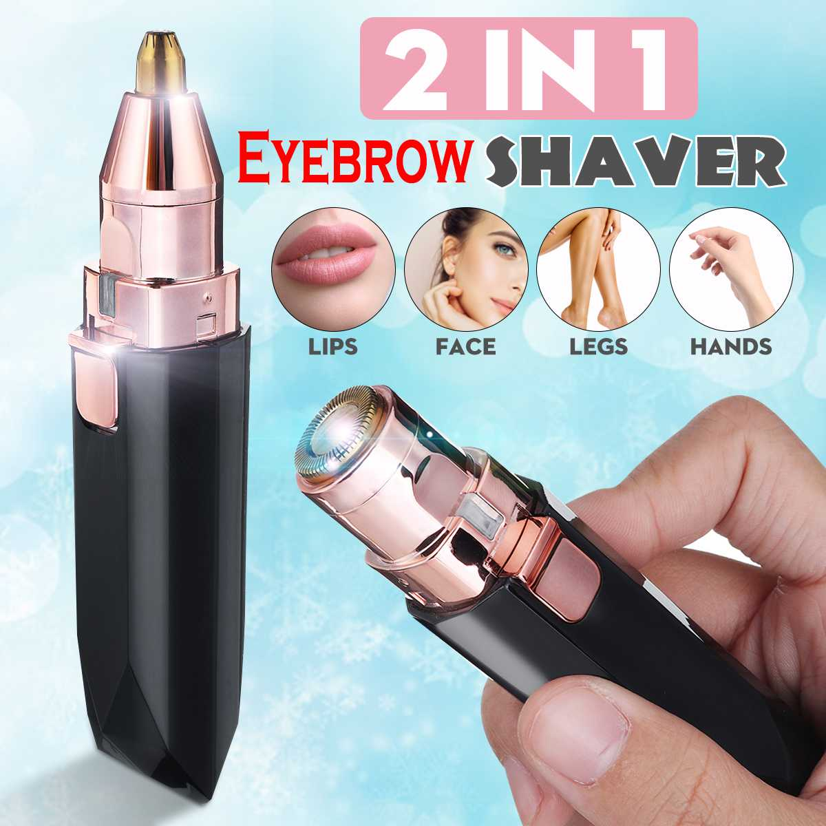 2 In 1 Epilator LED Light Facial Eyebrow Trimmer Painless Hair Remover Face Shavers ABS Plastic Women Shaver Detachable Head