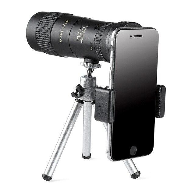 Монокулярный телескоп водонепроницаемый c зажимом для телефона