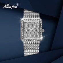 Missfox женские часы класса люкс со стразами и квадратной серебряные