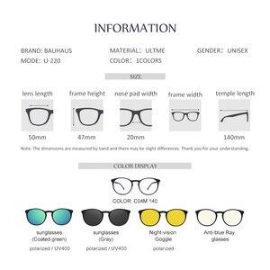 Image 2 - Bauhaus 5 lentilles italie Design aimant lunettes de soleil pince hommes nuit conduite magnétique miroir pince lunettes de soleil femmes myopie lunettes