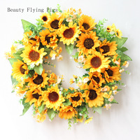2Pcs Direct sales new product simulation sunflower wreath wall decoration wall decoration school holiday garden decoration