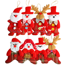 Christmas Tree Decoration Gift Doll Ornaments New Year Christmas Santa Claus Snowman Reindeer Bear Baubles Drop Pendants 4pcs christmas snowman baubles pattern stair stickers