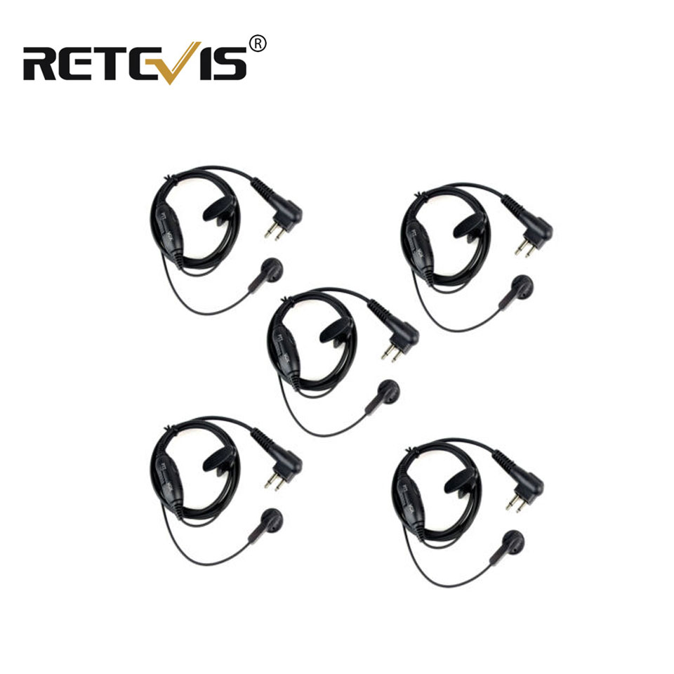 5pcs 2Pin PTT/VOX Switch Earpiece For Motorola CLS1410/1110 XTN500 Two Way Radio Headset For Walkie-talkie C2001A