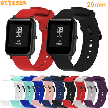 20mm Silicone strap For Huami Amazfit Bip BIT PACE Lite youth wristband replacement For Huami Amazfit GTS bracelet watch straps genuine leather loop magnetic band strap for huami amazfit bip bit pace lite youth smart watch closure buckle wristband bracelet