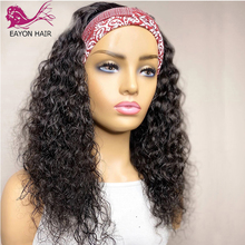 Headband Wigs Human-Hair Curly 180density Glueless Black Full-Machine Women Brazilian