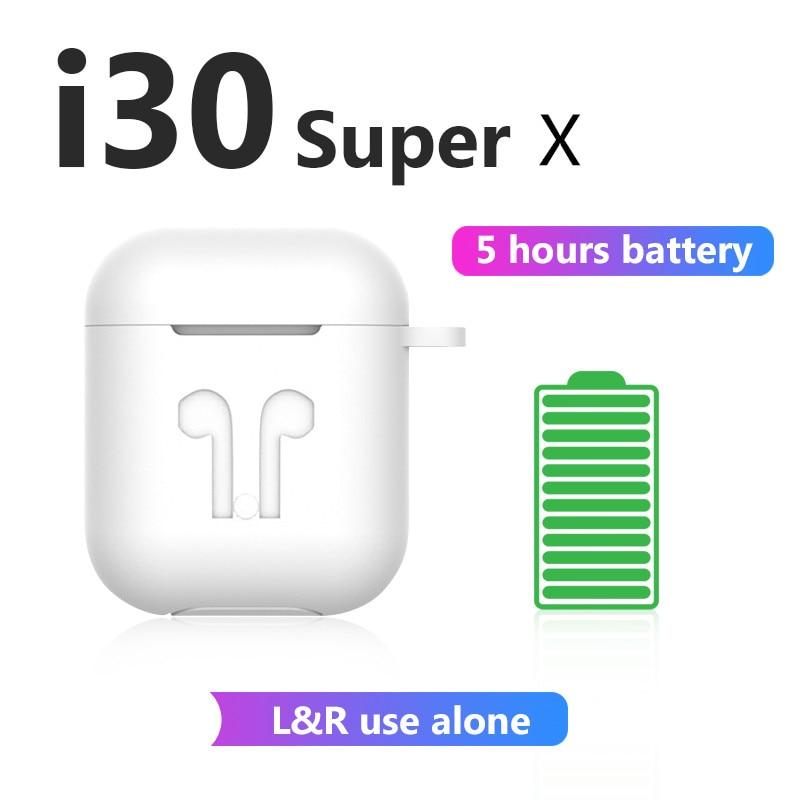 I30 Super X I30 TWS 5 Hours Power Wireless Earphone Bluetooth Earphones 6D Bass Earbuds PK I30 I12 I11 I10 I9s I7s TWS