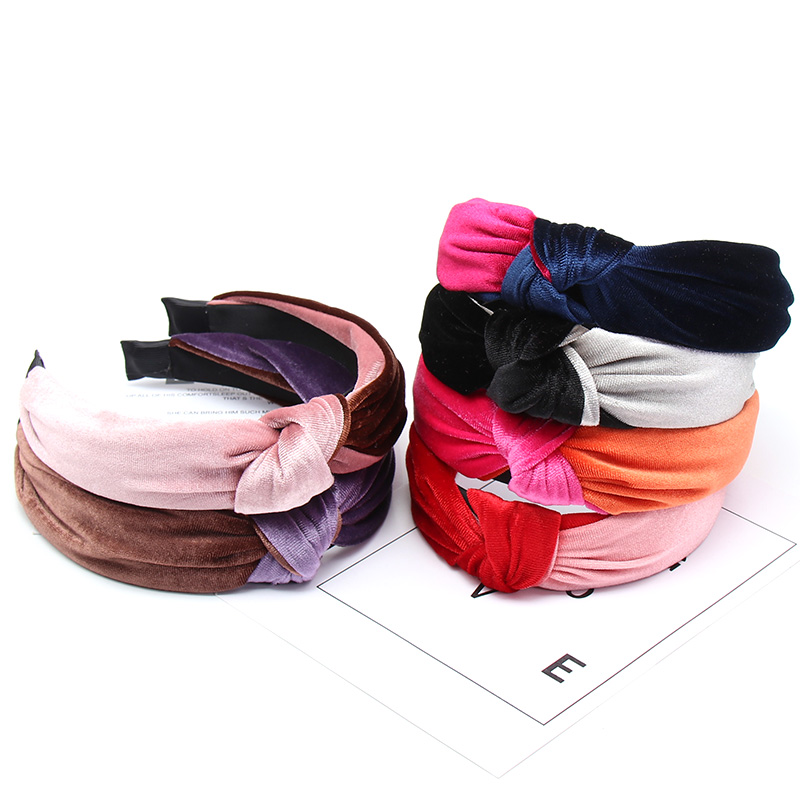 Double Colors Patchwork Knotted Headband For Women Girls Velvet Elegant Women Hairband Hair Hoop Casual Hair Accessories