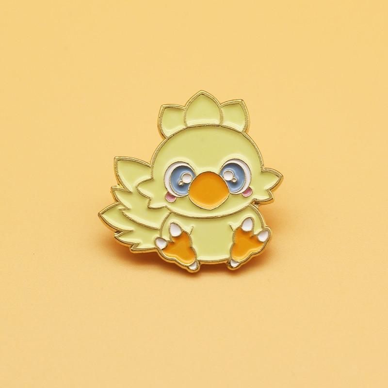 Chocobo брошка мультфильм сплава эмали штырь Дамская мода ювелирные изделия подарок значки