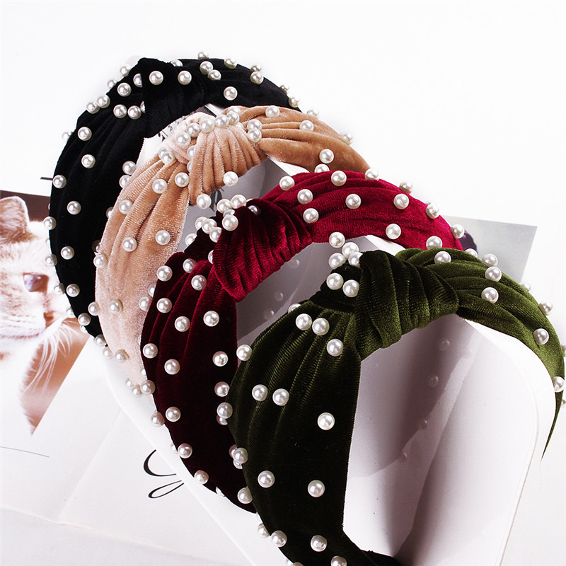 Solid Color Cloth Cross Hairband Pearl Headband Turban For Women Lady Wide Plastic Hair Hoop Bezel Hair Bands Accessories