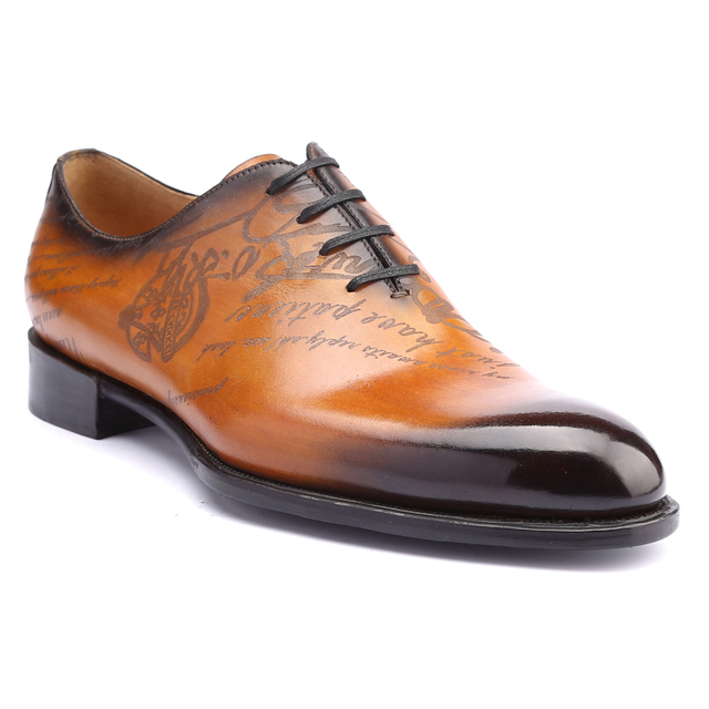 Dress Shoes Men Real Genuine Leather Luxury Brand Handmade Vintage Retro Office Formal Party Wedding Brand Oxford Shoe Mens