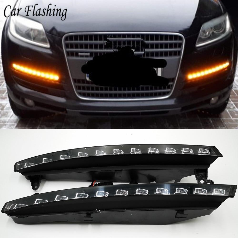 Автомобильные мигающие дневные ходовые огни для Audi Q7 2006 2007 2008 2009 светодиодный ные ходовые огни, противотуманные огни с желтым сигналом пово...