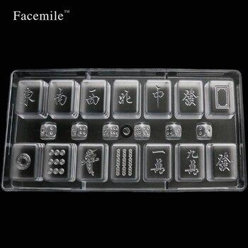 Molde de plástico para hornear, molde transparente de Mahjong, molde para Fondant de Chocolate, molde de hielo 54007