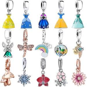 Princess Dress s925 Sterling Silver Charms Pendant European Bead Fit Original Charms Bracelet Chain Girl Women Jewelry Making