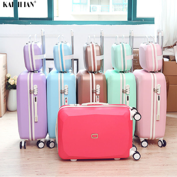 Cute Women Rolling Luggage Sets Spinner Password Suitcase Wheels 20 inch Korean Carry on Trolley Travel Bag 26'' big bag cabin