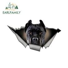 Earlfamily 13 センチメートル × 7.6 センチメートル黒杖車のステッカー引き裂か金属デカール反射ステッカー防水カースタイリングペット犬デカール