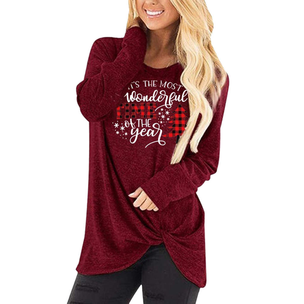 Women's Round Neck Merry Christmas Print Hoodies Pullover Tops Fashion Ladies Long Sleeve Knot Casual Sweatshirts Sweter Damski