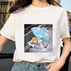 Camisetas Verano Mujer 2019 футболка принцессы с принтом Золушки женская летняя белая с коротким рукавом Harajuku Эстетическая одежда
