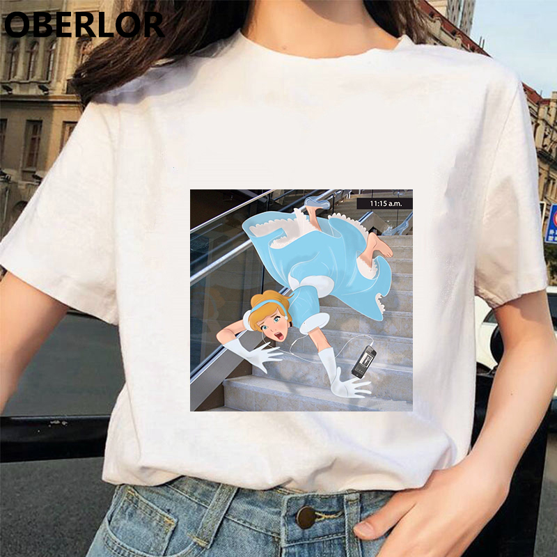 Camisetas Verano Mujer 2019 Princess With Cinderella Print T Shirt Women Summer White Short Sleeve Harajuku Aesthetic Clothes