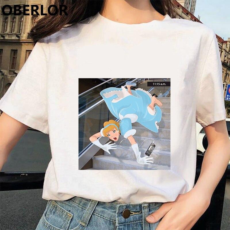 Camisetas Verano Mujer 2019 Princess with Cinderella Print   T     Shirt   Women Summer White Short Sleeve Harajuku Aesthetic Clothes