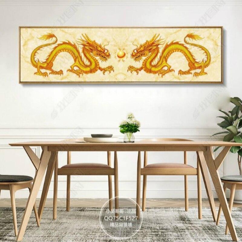 Diamant broderie mosaïque peinture point de croix Double doré Dragons jouant avec une perle bricolage 5D/3D vente décoration cadeau