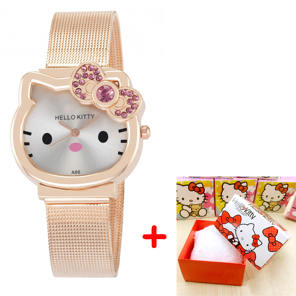 High Quality Cartoon Cute Mesh Stainless Steel Band Quartz Watch Children Kids Girls Boys Casual Bracelet Wristwatch Relogio