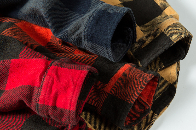 H108de46c34884c7d945d1faad0f61d9fF 100% cotton heavy weight retro vintage classic red black spring autumn winter long sleeve plaid shirt for men women