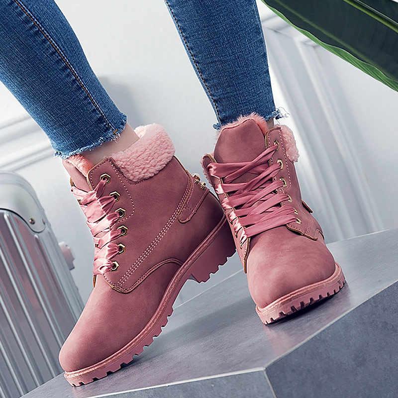 Kış kadın botları 2019 yeni moda katı dantel-up rahat ayakkabılar kadın sıcak kadife ayak bileği çizmeler kadın ayakkabıları yuvarlak ayak PU kar çizmeler