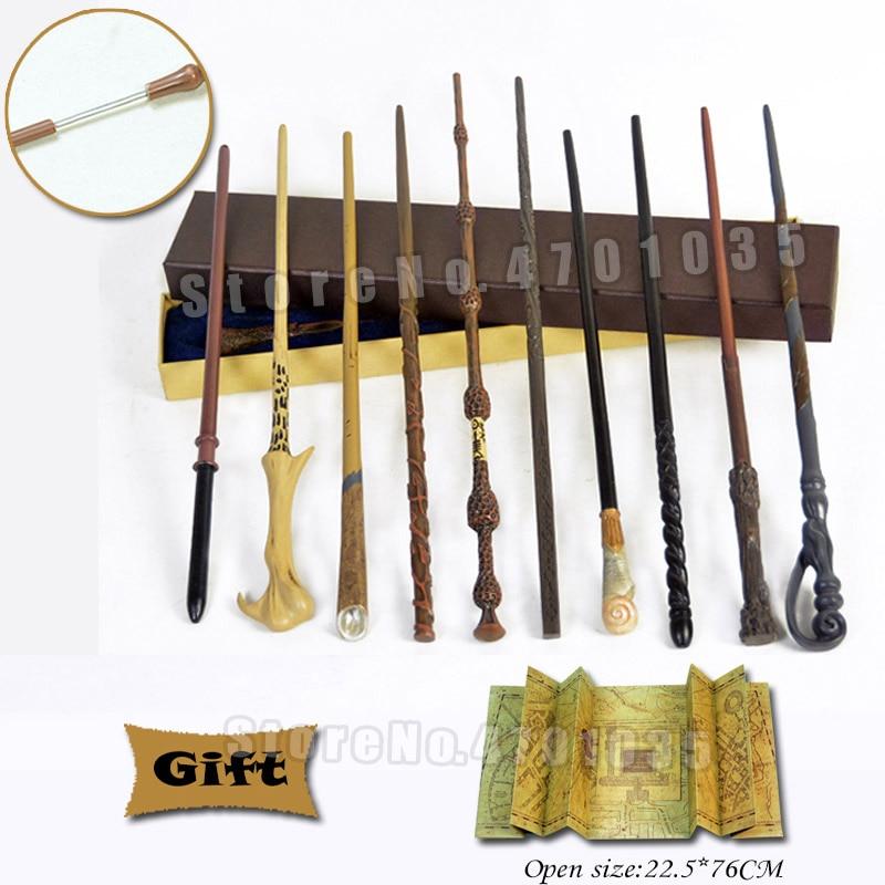 28 видов металлических сердечников, волшебные палочки для косплея, Волдеморт, Гермиона, волшебная палочка, карта мародера в качестве бонуса ...
