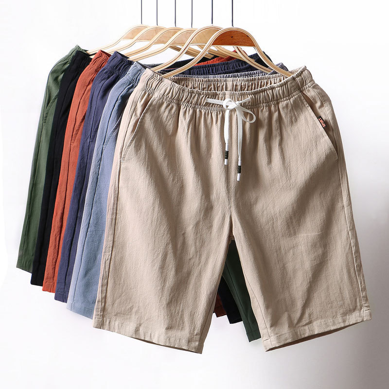 Summer New Style Men Medium Waist Cotton Linen Medium Waist Solid Color Straight-Cut 5 Pants Large Size Casual Shorts Men's