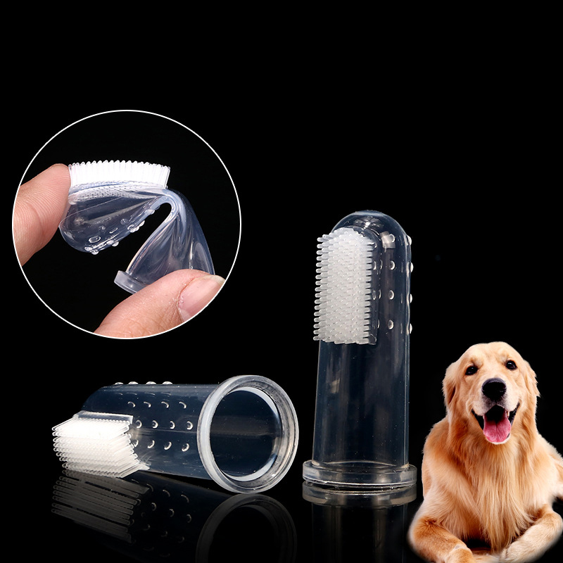 Soft Silicone Pet Finger Toothbrush Teddy Dog Brush Bad Breath Tartar Remover Teeth Oral Care Puppy Dog Cat Cleaning Supplies image