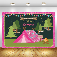 Camping Birthday Party Backdrop for Photography Tree Tent Campfire Outdoors Jungle Photoshoot Background Cake Table Decorations independence day firecracker birthday backdrop 4th of july first birthday party photo background cake table decorations supplies