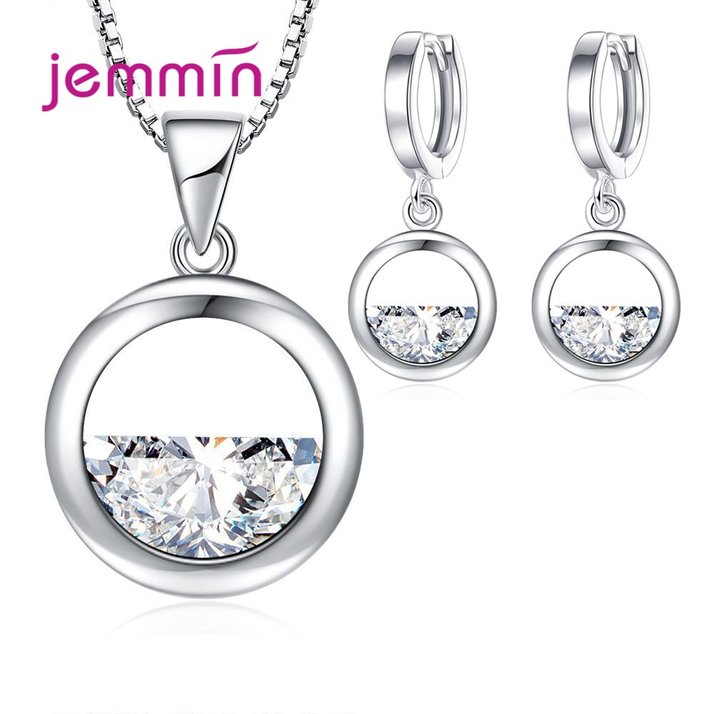 New Fashion Jewelry Set For Women Pendant Necklace Hoop Earrings Round Crystal 925 Sterling Silver Wedding Engagement