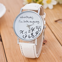 цены Mance Whatever I am Late Anyway Letter Pattern Leather Men Women Watches Fresh New Style Woman Wristwatch Lady Watch Hot Sale