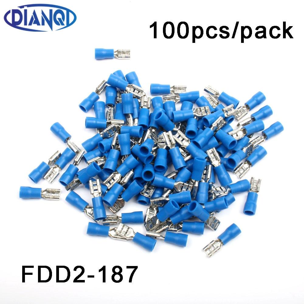 "100 Blue Male Female Spades Quick Wire Connectors .187/"""
