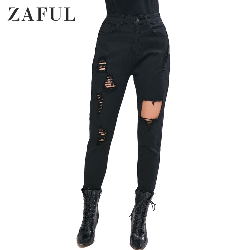 ZAFUL Ripped Zipper Fly Skinny Jeans Distressed Five Pockets Ladies Jeans Medium Wash 2020 Spring New Style Casual Women Jeans