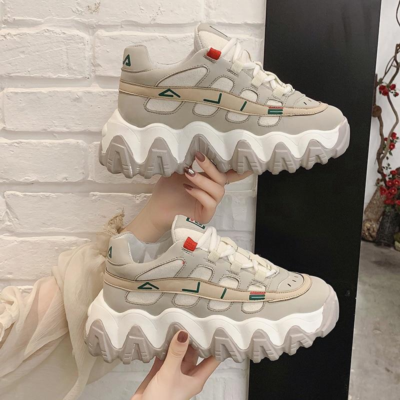 LMCAVASUN/Новинка 2020 года; женские кроссовки на платформе; белые кроссовки; Повседневная дышащая мягкая женская обувь на плоской подошве; Zapatillas ...