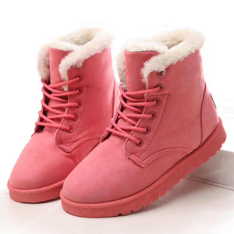 รองเท้าผู้หญิงฤดูหนาว Warm Snow รองเท้าบูทผู้หญิง Faux Suede รองเท้าสำหรับหญิงฤดูหนาวรองเท้า Botas Mujer Plush รองเท้าผู้หญิง
