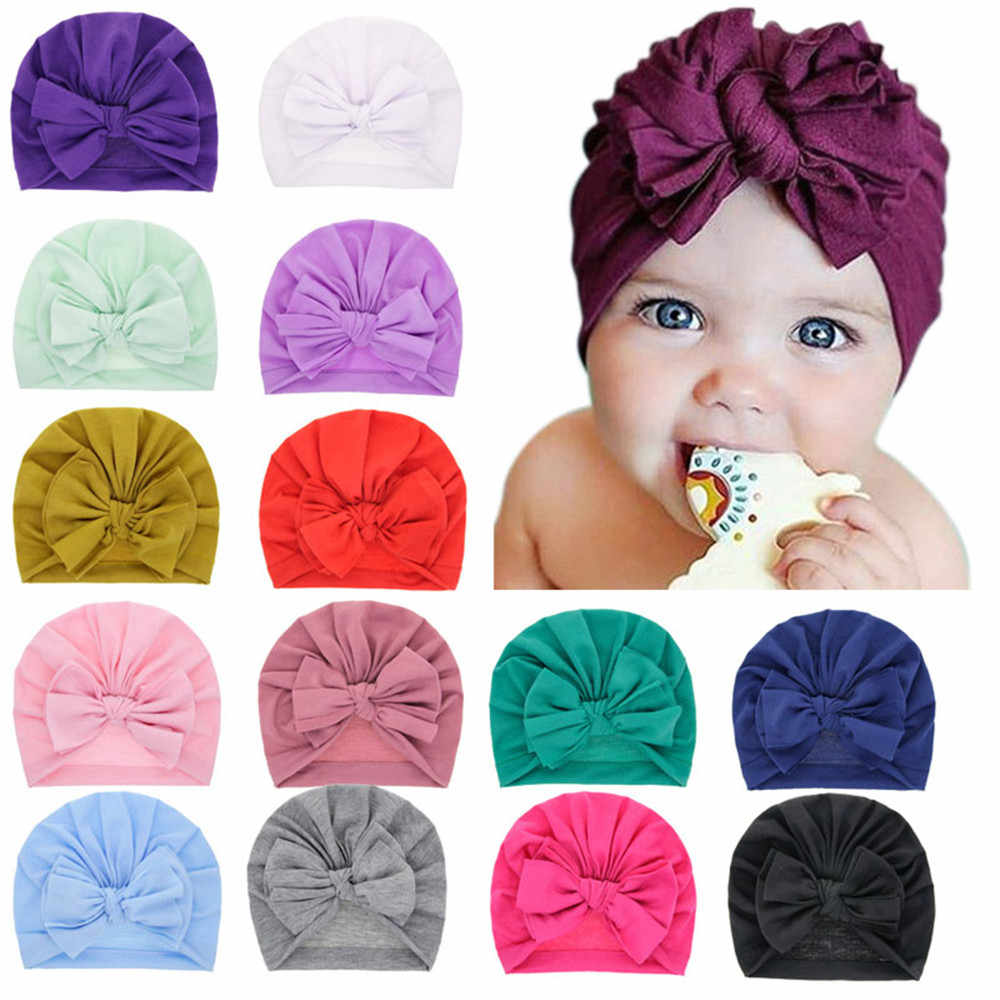 Lovely Winter Solid Color Thick Newborn Hat Boys Girl Cotton Soft Big Bow Turban Bonnet Caps Solids Baby Shower Props