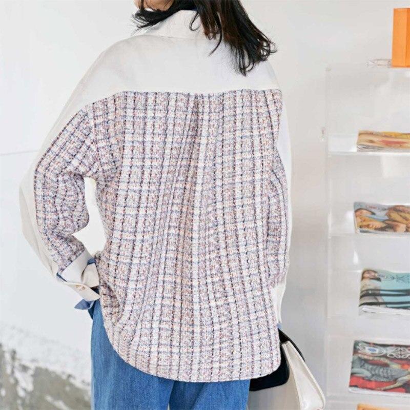 Automne Plaid Blouse chemise femmes perle bouton épissé revers Blouse pour femmes à manches longues lâche Fit mode marée femme chemise - 5